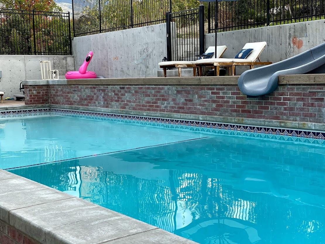 swimming pool with bricks